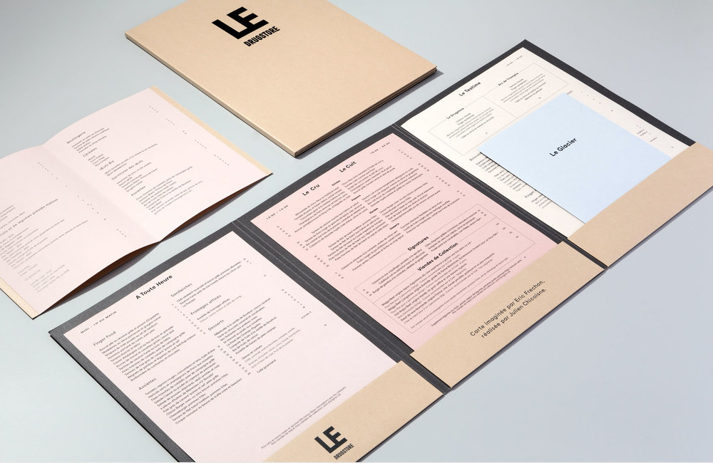 Dossier style menus and Brand Identity for Le Drugstore, Paris, by  Design&Practice