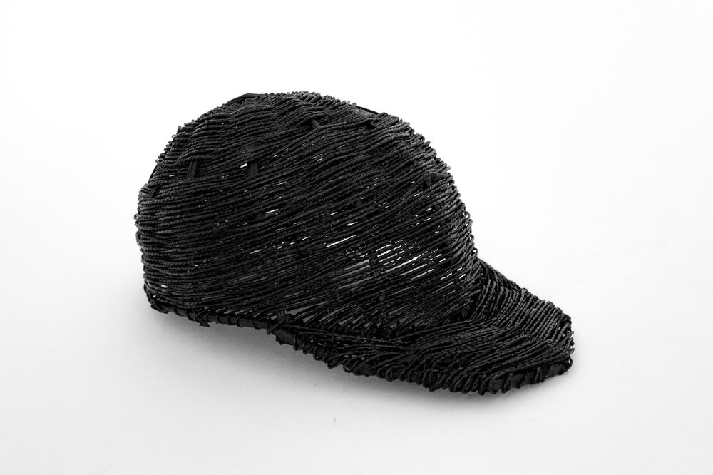 Woven waterproof cap made with pitch covered cotton rope,  The Forgotten Collection  by Lapatsch|Unger, First edition