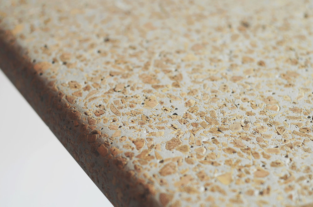 Corcrete–By, Made using recycled cork and concrete, with Bamboo fibers for reinforcement