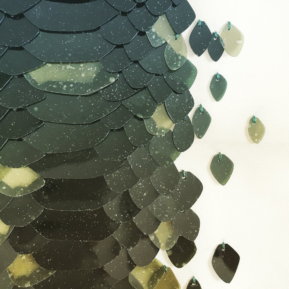 Bioplastic sequins by  The Sustainable Sequin Company.