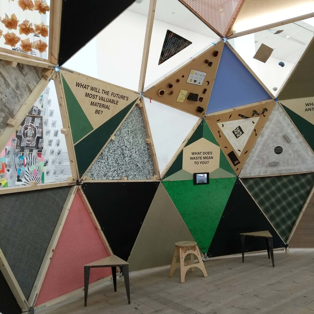 One of the four Mirrl surfaces seen at the  Idea of North  geodesic dome display by MaterialDriven, at the Balitc Centre for Contemporary Art