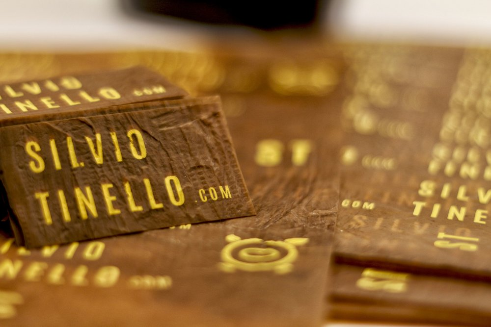 Business cards cut from Bacterial Cellulose, by Silvio Tinello
