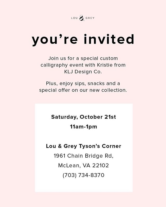 🌟EVENT ANNOUNCEMENT🌟 Friends in the DMV, I'll be hanging out at the Tysons Corner @louandgrey THIS WEEKEND. I'll be doing some live calligraphy, demoing embossing, and personalizing notebooks (free with purchase!) from 11-1 on Saturday. Everyone gets a sweet discount at @louandgrey also, so shop your heart out my friends 💛 Hope to see you there!