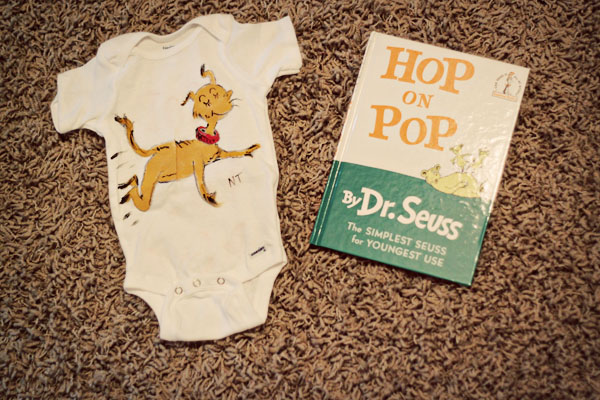 baby's first gift hop on pop onesie and book