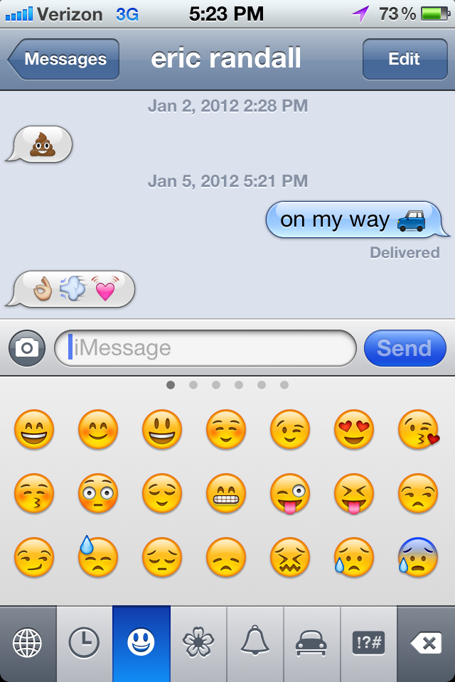 Emoji image texts with iPhone. Picture keyboard