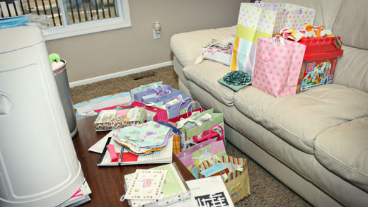 baby shower gifts opened
