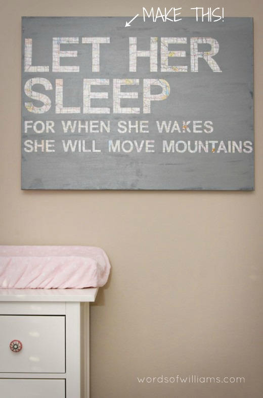 Let Her Sleep - Nursery canvas  ::  wordsofwilliams.com ::