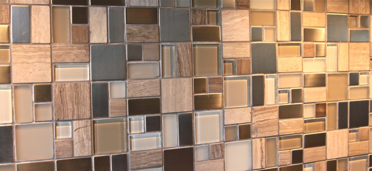 Mosaic tile stone glass frosted glass stainless steel