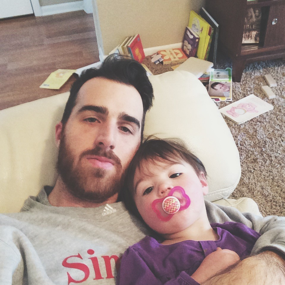 Daddy home with a sick girl