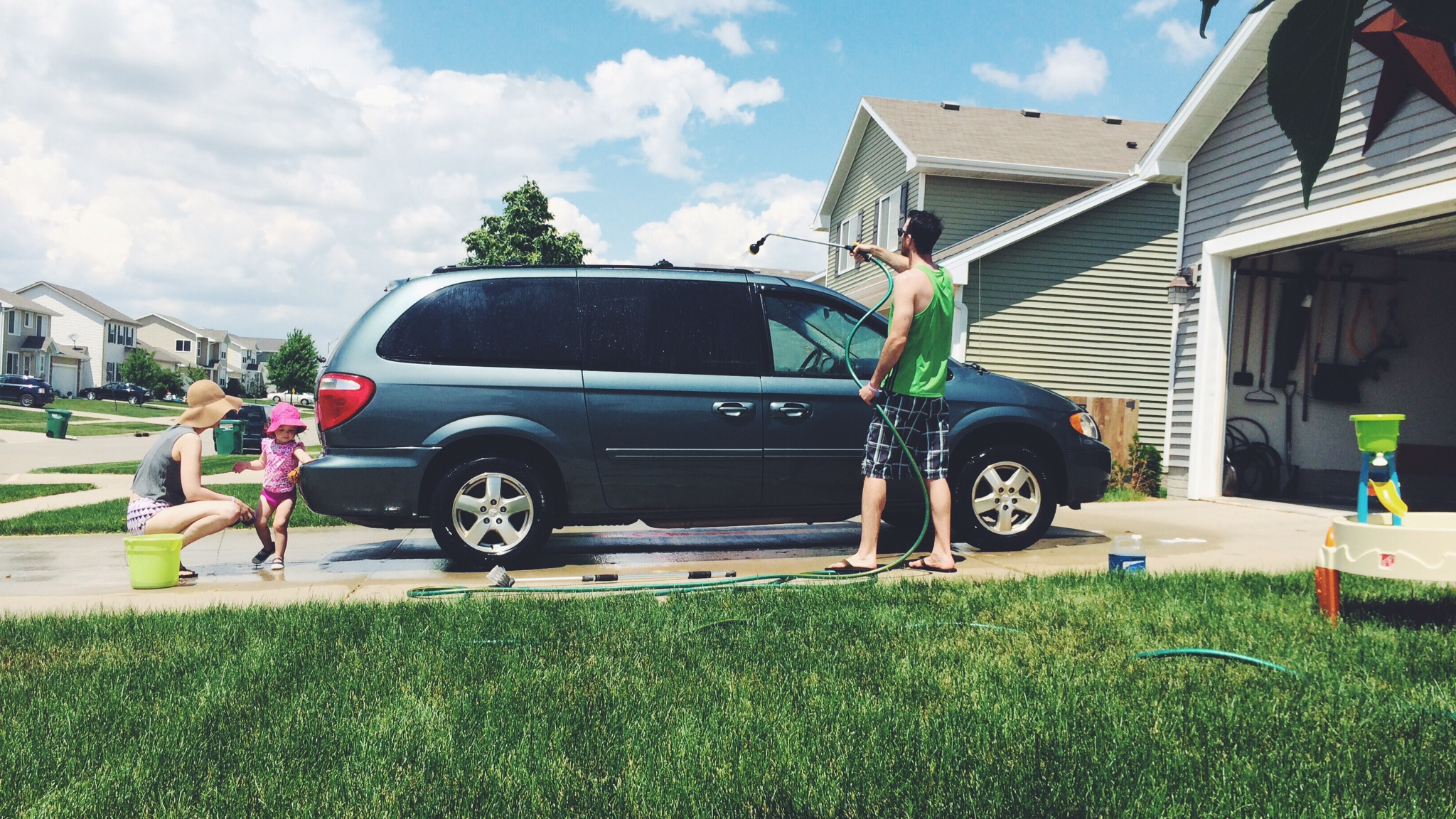 washing the minivan