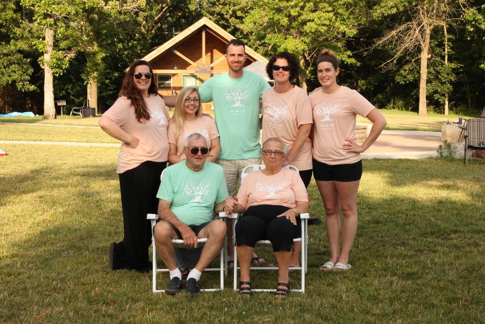 My sister, cousins, Grandpa, Grandma, and me.