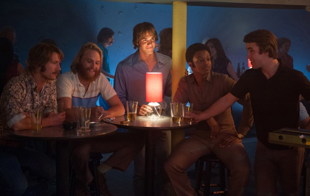 Glen Powell, Wyatt Russell, Blake Jenner, J. Quinton Johnson, and Temple Baker star in director Richard Linklater's  Everybody Wants Some!!