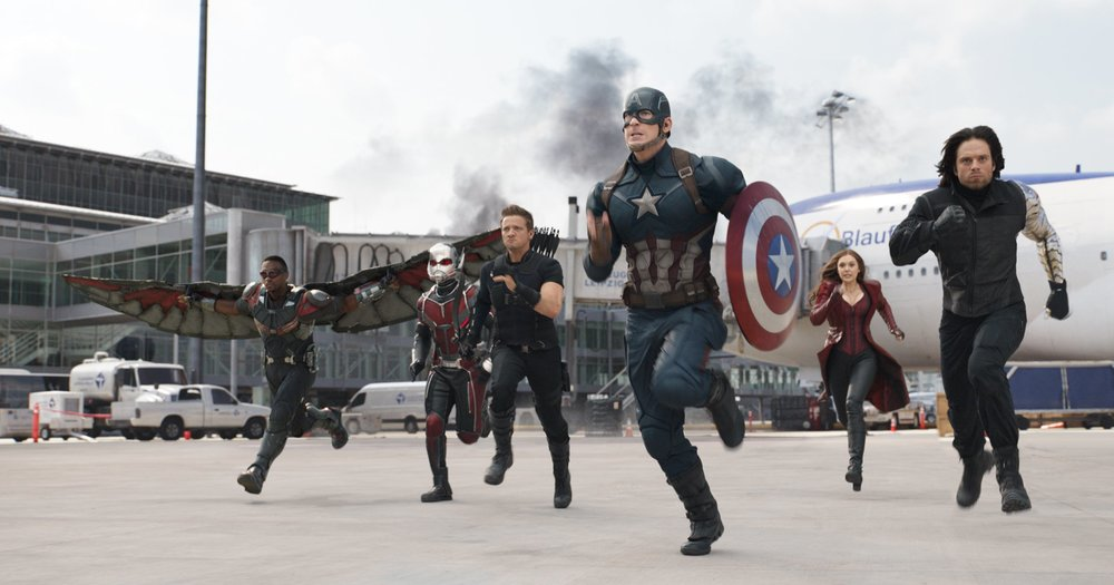 Anthony Mackie, Paul Rudd, Jeremy Renner, Chris Evans, Elizabeth Olson, and Sebastian Stan star in the Russo Brothers'  Captain America: Civil War