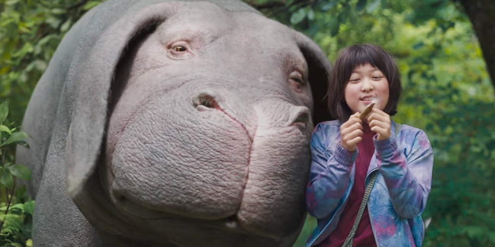 Best friends, Okja and Mija (Seo-Hyeon Ahn, explore the mountains of South Korea in Bong Joon-ho's thought-provoking film Okja.