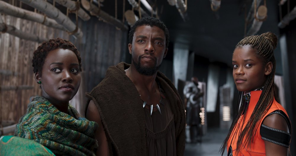 Lupita Nyong'o, Chadwick Boseman and Letitia Wright in  Black Panther