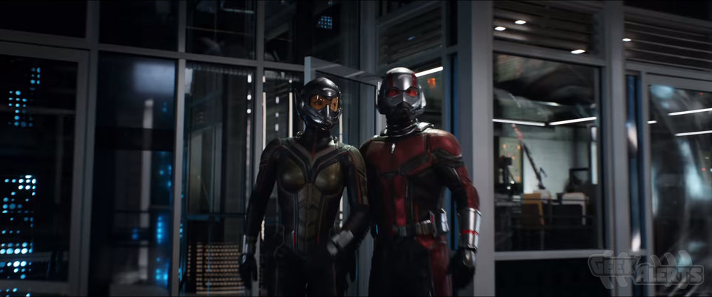 Evangeline Lilly and Paul Rudd as Wasp and Ant-Man in  Ant-Man and the Wasp.