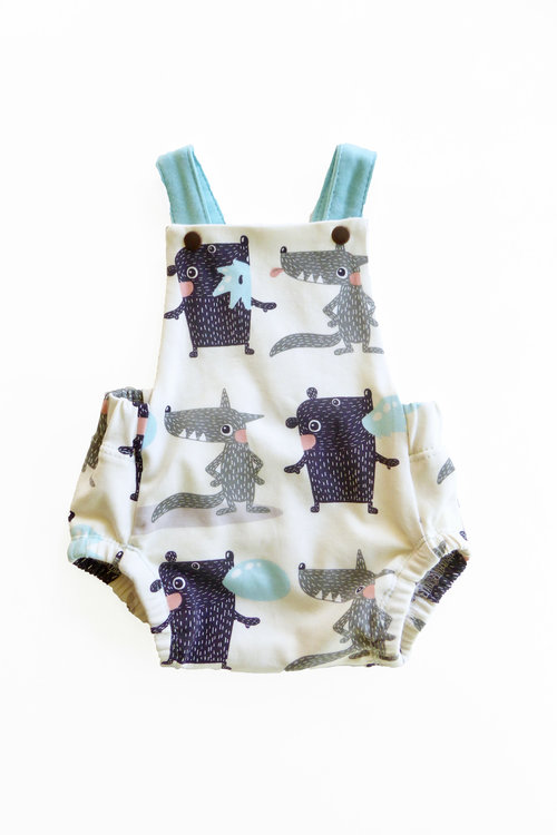 82b8b47fe4d0 Bubble Gum Organic Cotton Romper. monster romper.jpg