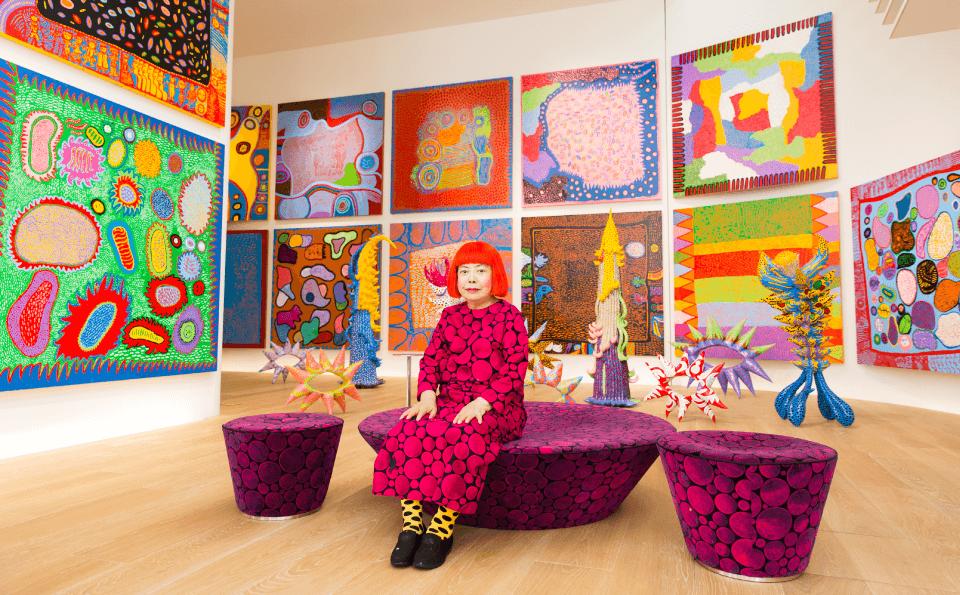 Yayoi Kusama with recent works in Tokyo, 2016. Photo by Tomoaki Makino. Courtesy of the artist © Yayoi Kusama