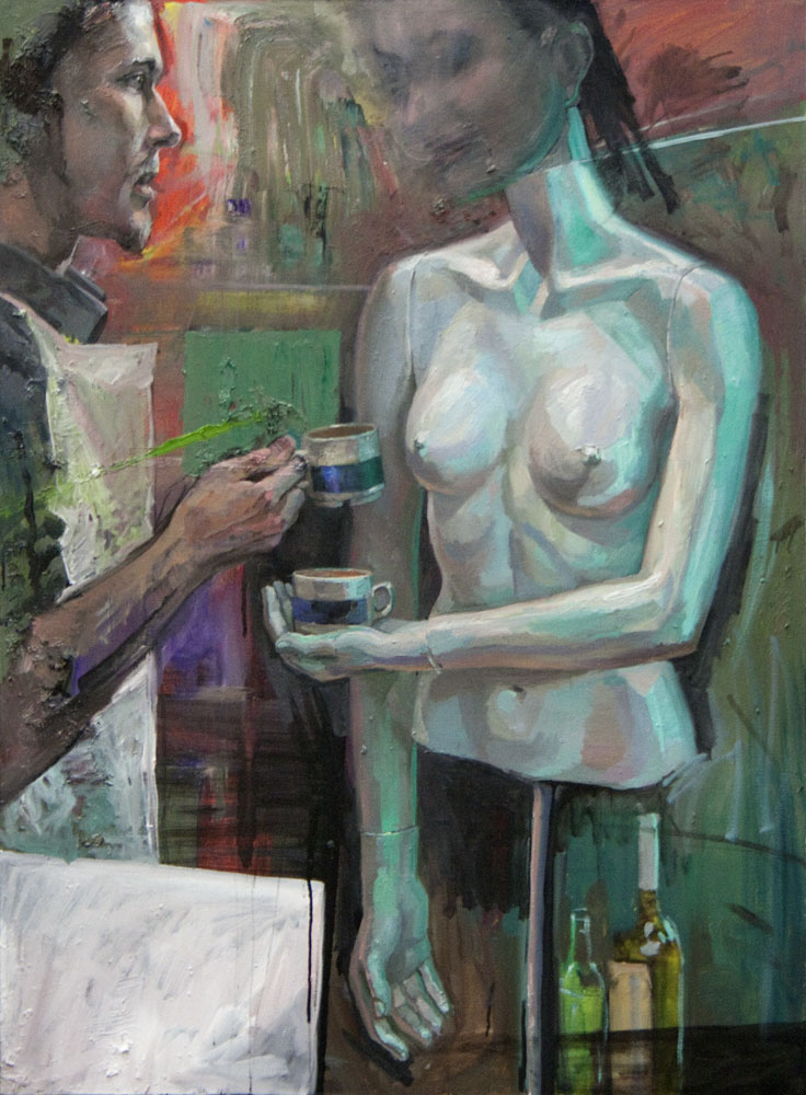 """Coffee with model""   2016   Oil on canvas   133 x 89cm"