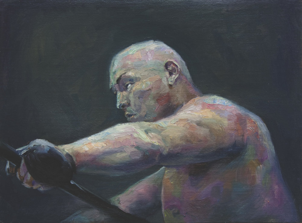"""Wrestling Tape""  2016   Oil on canvas   40 x 30cm"