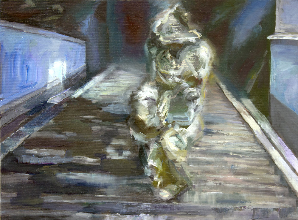 """Mrrlstpttk6 ascending the stairs"" 2018 Oil on canvas 31 x 42cm"