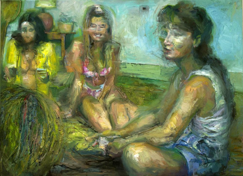 Mushy tropical  2018 89x89cm oil on canvas