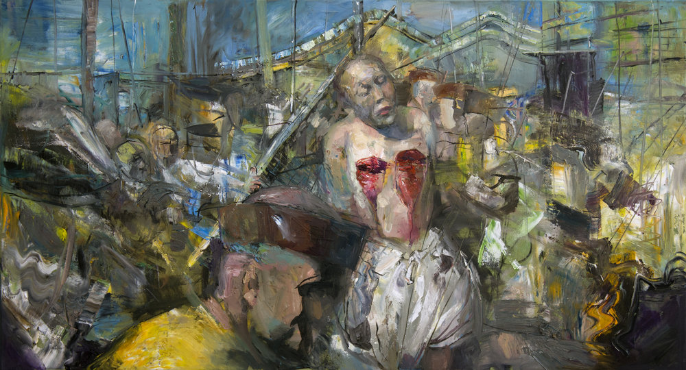 Lingchi - Chinese torture II, 2019, 65x120cm, oil on canvas