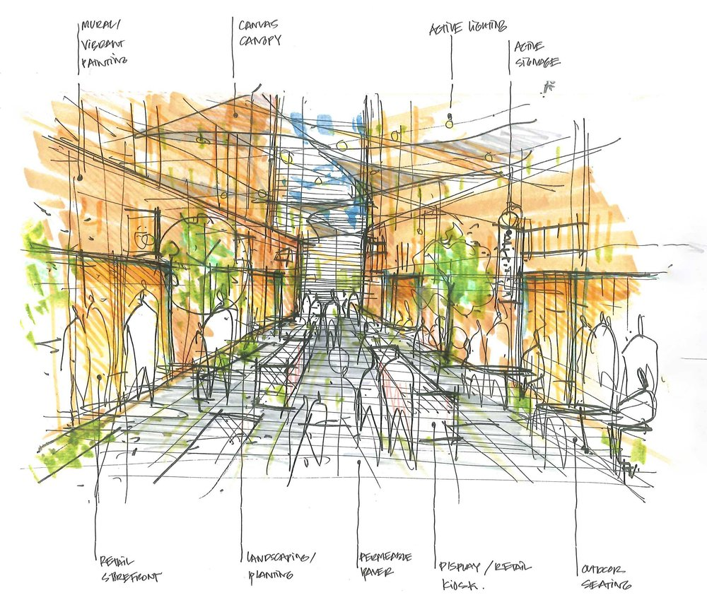Design elements to reviltalize urban passageways