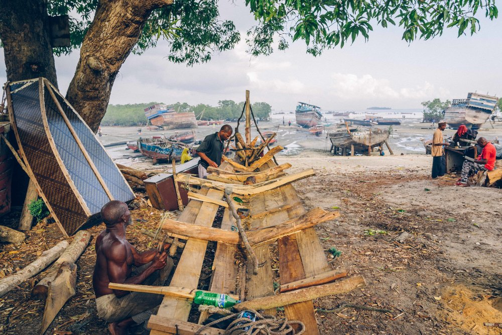 Boat builders constructing a small-mid sized fishing boat