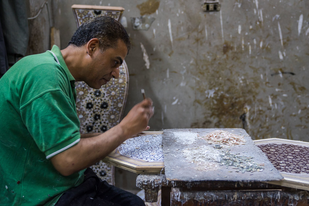 Khaled Khalida's, mother of pearl and furniture workshop