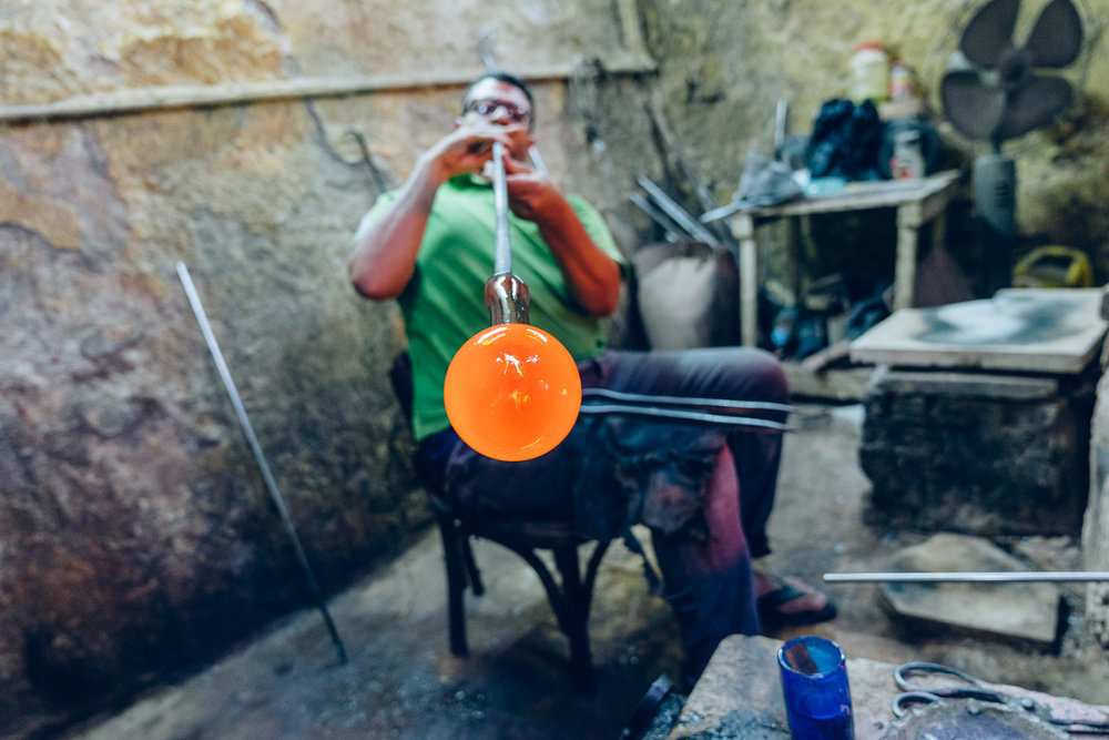 Hodhod's glassblowing workshop