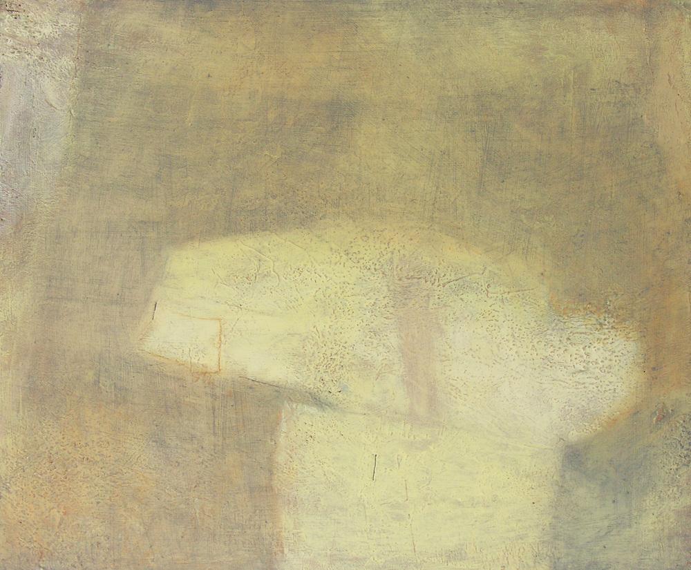 "Dolmen, 20x24"", mixed media on wood panel."
