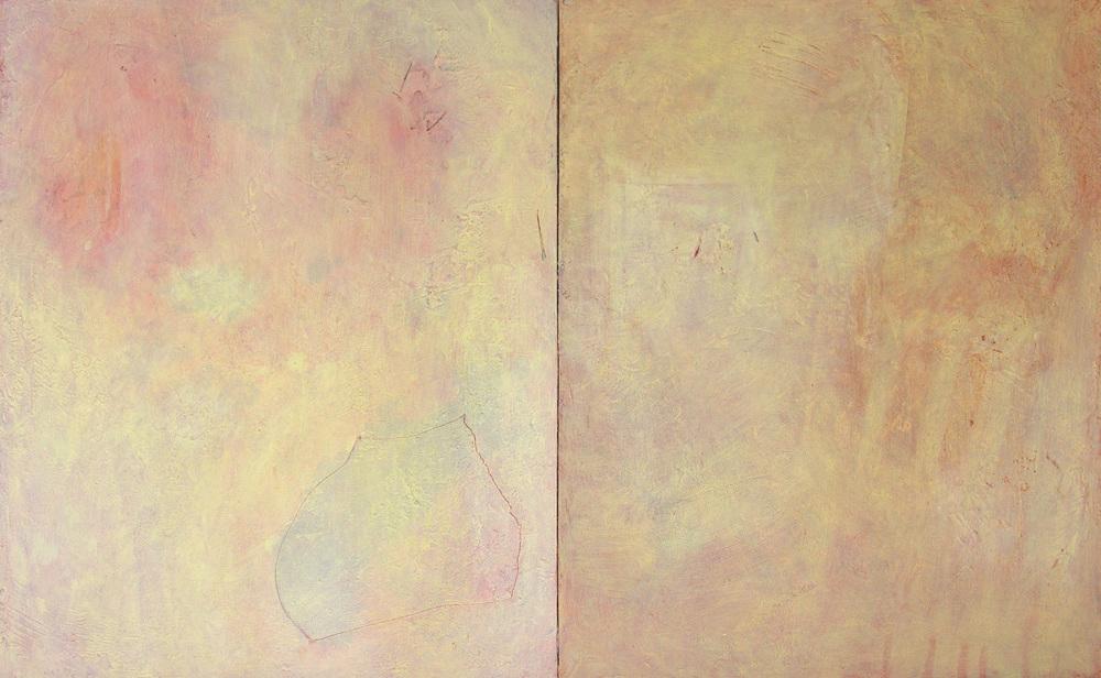 "Still Life (diptych), 30x48"", mixed media on wood panel."