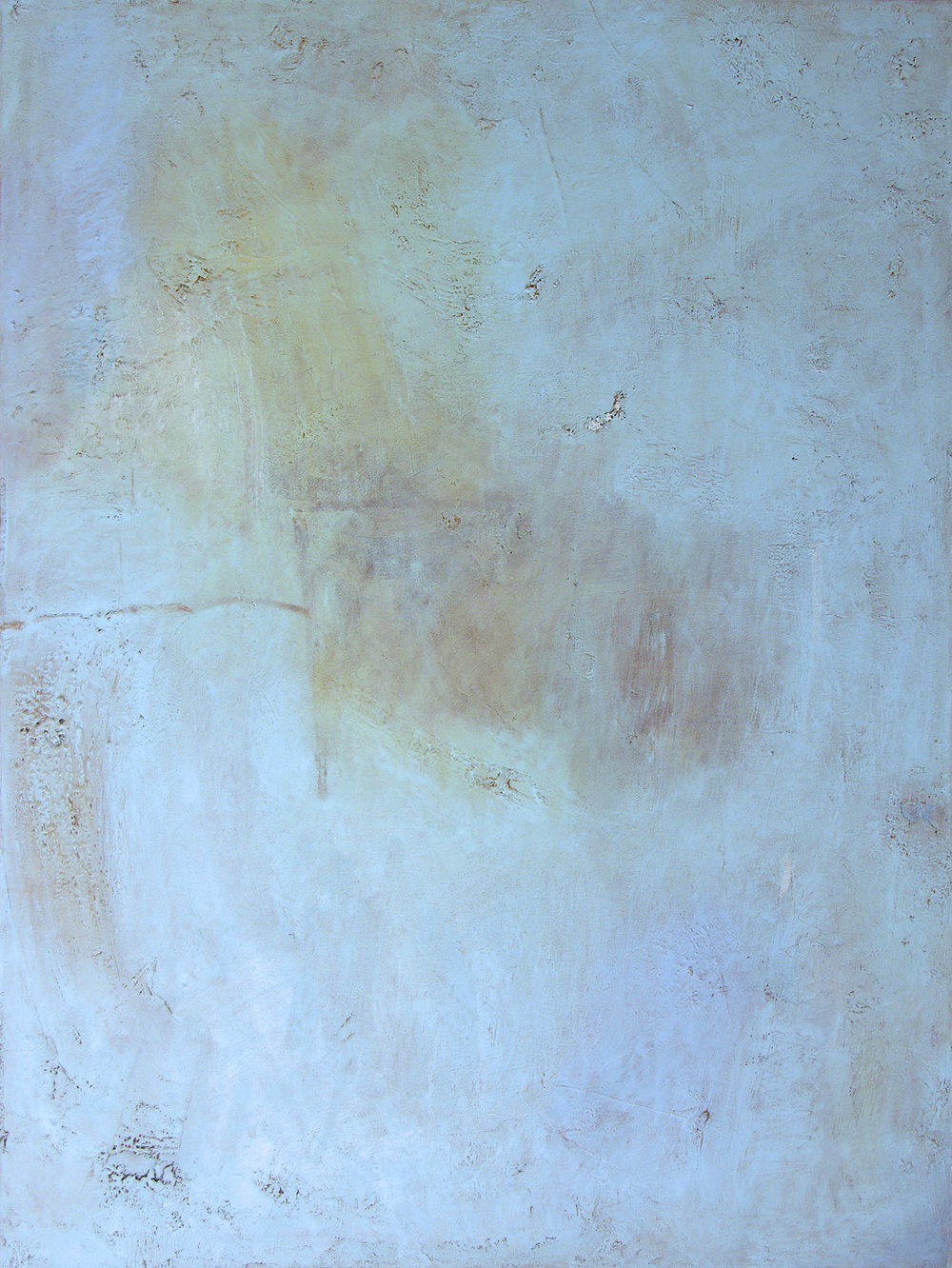 """Fog with Tanker, 40x30"""", mixed media on canvas."""