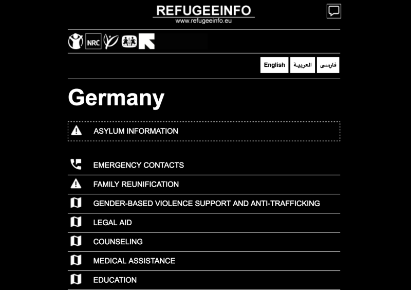 Homescreen for RefugeeInfo.eu for people in German
