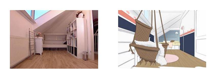 Door het tv-programma éigen huis & tuin' werd van de rommelkamer een leuke peuterkamer gemaakt. Hier de rommelkamer én het plan voor de nieuwe kamer. (bron foto:www.eigenhuisentuin.nl)