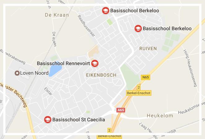 bron: Google maps Locaties van de drie basisscholen in Berkel-Enschot