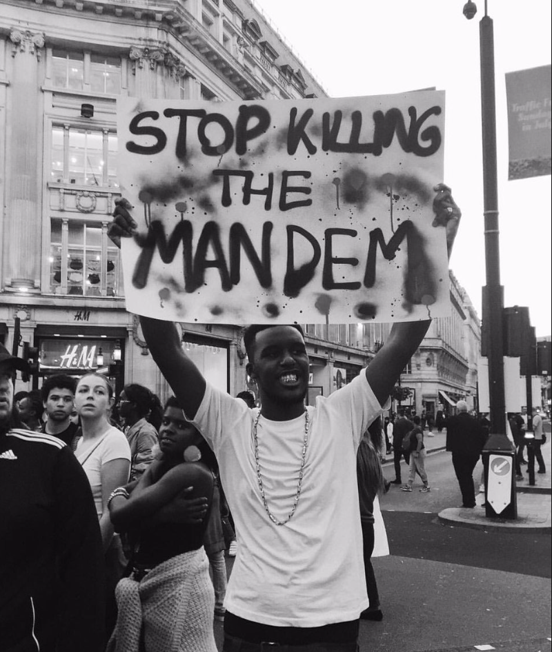 "Novelist at the London protests. ""The music I make is like punk in that it's rebellious: fuck the feds, fuck the government, big up the mandem. That's where the energy comes from"""
