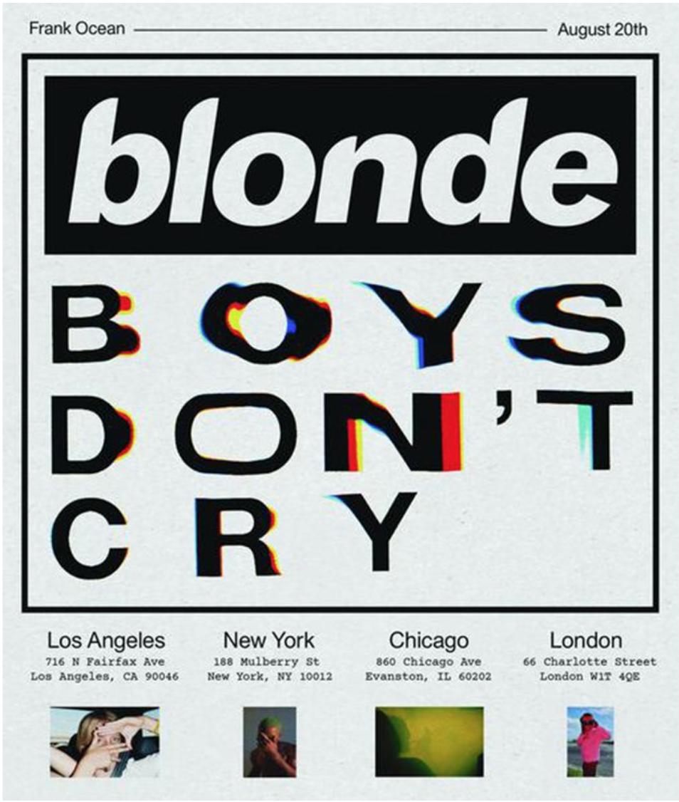 "Frank Ocean 'Boys Don't Cry' Zine with limited version of Album ""Blonde""."