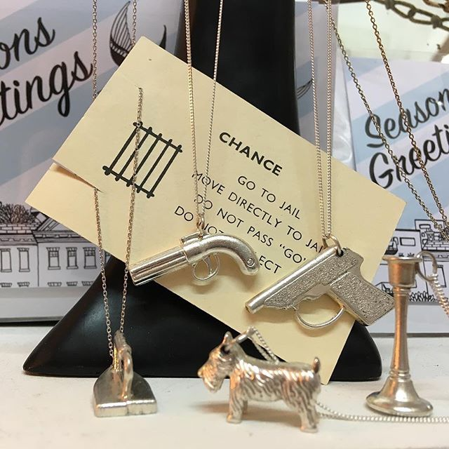 Available from @founde17 inside the market. Silver plated monopoly & cluedo pieces complete with sterling silver chain. Back in stock! #christmas #gifts #vintage #retro #boardgames #market #local #walthamstow #woodstreet #e17 #jewellery #scottiedog #westhighlandterrier #dog #revolver #gun