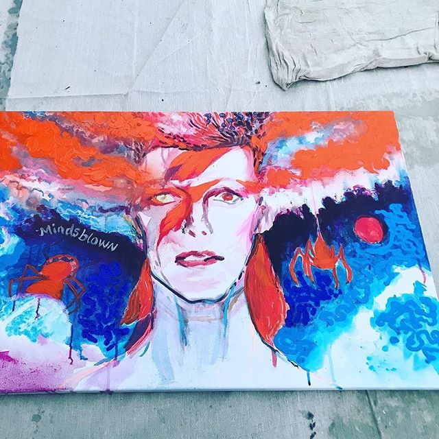 @falaniko.art m · · ·  Working on this Bowie while waiting for photo backgrounds to dry. weather's not playing nice it's starting to rain. Who would you choose to put on your wall and why? ———————————————Check link in bio for pricing etc. Or pop into the studio Tuesday-Saturday 11-5.30 . . . . #musicicons #fashion #artlover #originalart #emotion #artforsale #nspiration #woodstreet #artforsale #love #musicalinspiration #hope #acrylicpainting #fabulous#fashionandflowers #artlife #artoftheday #spidersfrommars #art #painting #colourfulart #bowiesbirthday #dreamerswelcome #davidbowie #culturalicon #artistoninstagram #portrait #londonlifestyle #youdoyou #leyton #walthamstowart