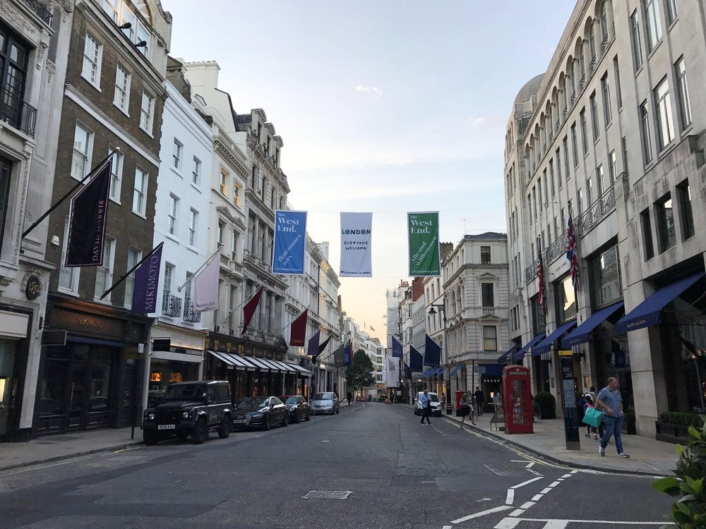 A street in the West End during my first day in London.