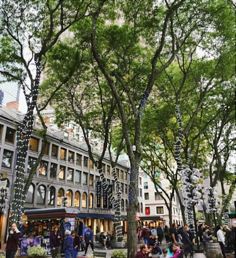 The Quincy Market is a series of historical buildings which are full of food stands surrounded by shops and seating areas. I was reminded of German and French holiday markets.  Sarah Teskova.