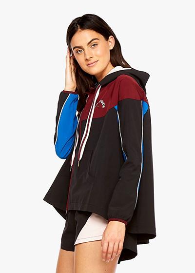 The Colour Block Ash Jacket in Blk/Multi