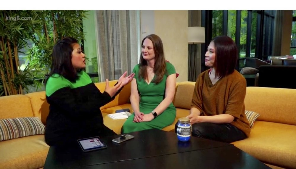 On King 5 News with Michelle Li and Annie Kuo discussing decreasing the stigma around miscarriage on Pregnancy and Infant Loss Awareness Day