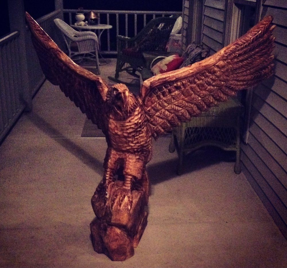 In the spirit of American freedom, we borrowed this pic from a friend of Live Edge's collection of wooden sculptures.  This life size eagle, while not for sale, was crafted from salvaged American trees!