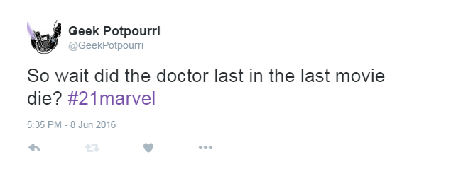 """It shouldsay, """"Did the doctor in the last movie die?"""" But when you're live-tweeting, spelling and syntax is the first thing to go."""