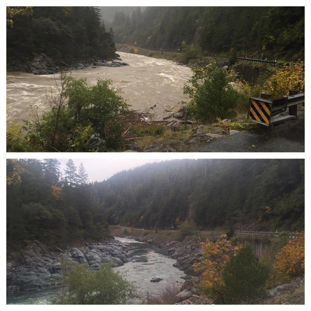 The pictures above depict the rapid rise and fall of the river levels on the Smith River in Northern California. The top picture is the Middle Fork Smith River on October 17, 2016 at roughly 18ft on the Jed Smith Gauge near Hiouchi, Ca.  Four days later this photo was taken in the exact same location on the Middle Fork Smith River with the receded water level of 9 foot on the same Jed Smith Gauge. Leaving roughly two and a half days of good salmon fishing in between the high and the low river levels. This picture shows just how fast and strong the Smith River Salmon are to migrate this entire system in hours instead of days.