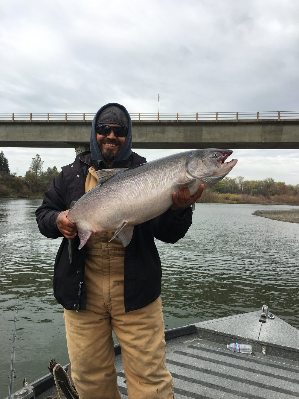 Juan Nava from Red Bluff, Ca, owner and artist at First Love Tattoo also in Red Bluff, Ca holds a Sacramento River Late Fall King Salmon caught in late November with  SalmonSacRiver.com  salmon fishing guide Mike Rasmussen. This chrome Sacramento River salmon was caught using a kwikfish with a sardine wrap on the Sacramento River at Woodson Bridge.  Mike's Fishing Guide & Charter Service For Sacramento River Fishing targeting King Salmon, Sockeye Salmon, Striped Bass, Sturgeon, Shad And Trout the best Sacramento River Fishing guide and Sacramento River Charter on Sac River