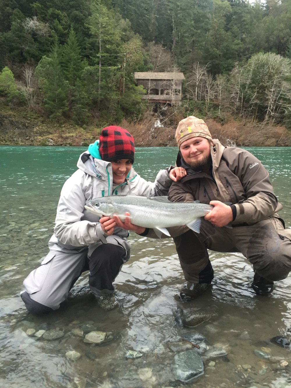 This picture of Dakota Deines and Kyla Melcher was taken by Sacramento River Fishing Guide Mike Rasmussen in early February, 2015 while on a guided steelhead fishing trip with Dakota Deines rowing for Kevin Brock.  Mike's Fishing Guide & Charter Service For Sacramento River Fishing targeting King Salmon, Sockeye Salmon, Striped Bass, Sturgeon, Shad And Trout the best Sacramento River Fishing guide and Sacramento River Charter on Sac River